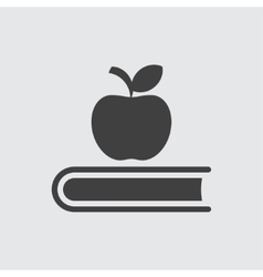 Apple on book icon vector image