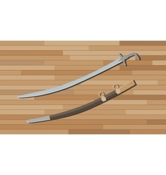 arabian sword with wood table background vector image