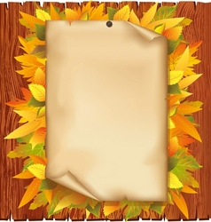 Autumn background with old paper and yellow leaves vector