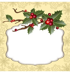 background with holly vector image vector image