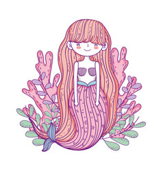 Beautiful mermaid with seaweed fairytale character vector