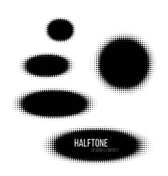 Black geometric ellipse halftone design elements vector image