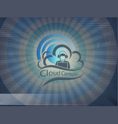 Blue design with computer cloud vector