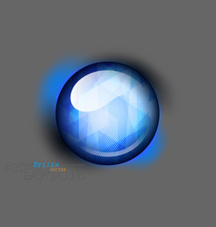 Blue glass button on a gray scene vector