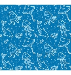 Blue sea life background with white doodle style vector image