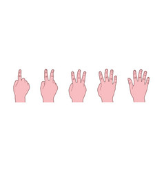 body language hand gesture counting one to five vector image
