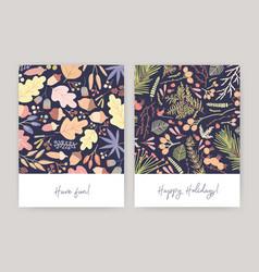 bundle of seasonal card or postcard templates with vector image