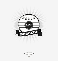 Burger logo Fast food symbol with ribbon vector