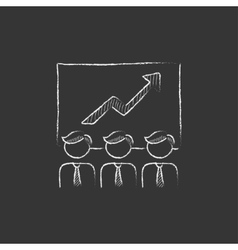 Business growth Drawn in chalk icon vector
