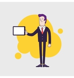 businessman character holding tablet vector image