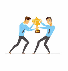 Businessmen fighting for a trophy - cartoon people vector