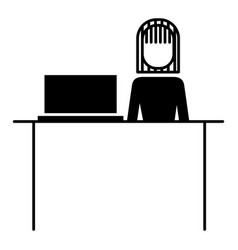 businesswoman sitting back work office vector image