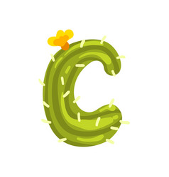 C letter in the form of cactus with blooming vector