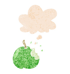 Cartoon bitten apple and thought bubble in retro vector