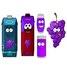 Cartoon grape bunch and juice packs vector image