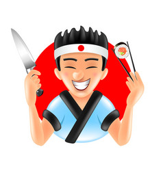 cartoon japanese sushi chef on red round isolated vector image