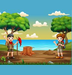 Cartoon two scouts in riverside vector