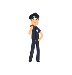 cheerful police officer in blue uniform with donut vector image