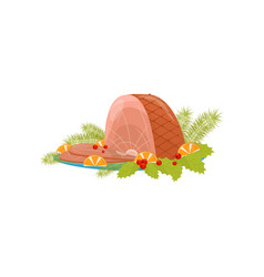 christmas ham with slices on orange red berries vector image