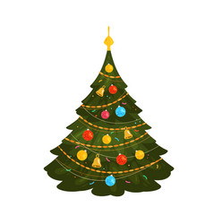 Christmas tree xmas concept or symbol cartoon vector