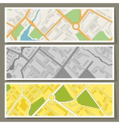 City map abstract horizontal banners background vector