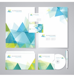 Corporate identity template with blue and green vector image