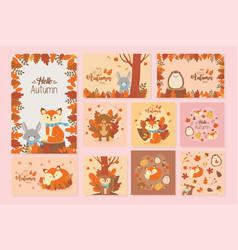 cute animal hello autumn season design vector image