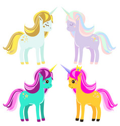 Cute unicorns fairy pony magic horses for kids vector