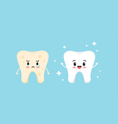 Cute white tooth and tooth with yellow stain vector