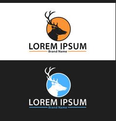 deer hunter logo design set couple vector image