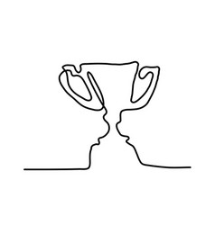 drawing a continuous line award cup vector image