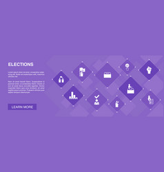 Elections banner 10 icons concept voting ballot vector