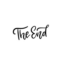 end - black lettering text on white background vector image