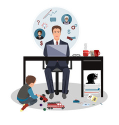 father business man working in home office and his vector image