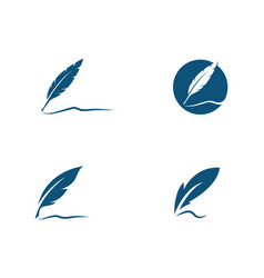 feather pen logo template vector image