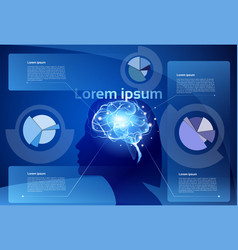 Female brain neurons activity medicine thinking vector