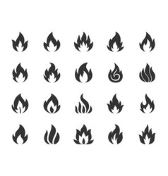 fire black silhouette icons set vector image