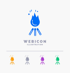 Fire flame bonfire camping camp 5 color glyph web vector