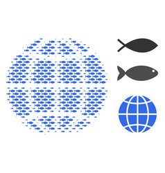 Fish halftone globe composition vector