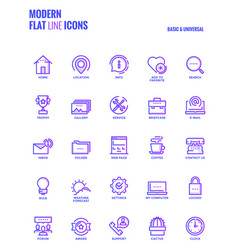 Flat line gradient icons design-basic and vector