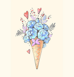 floral ice cream with hearts and blue flowers and vector image
