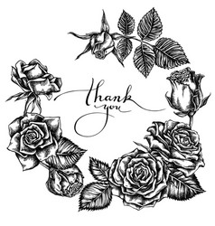 floral wreath black and white roses vector image