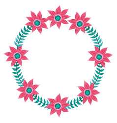 flowers set beautiful wreath elegant vector image