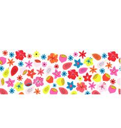 fruit flower summer border seamless pattern vector image