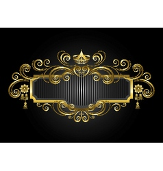 Gold frame in the with crown and candelabras vector