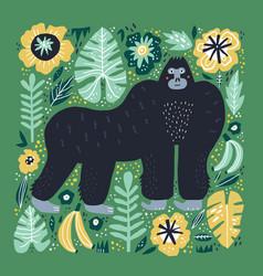 gorilla flat hand drawn vector image