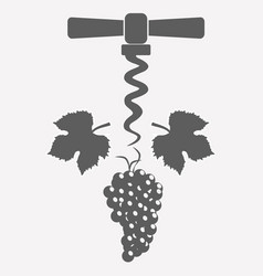 Grape and corkscrew vector
