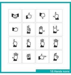 Hands gestures icon set vector