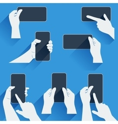 Hands holding a phone or other gadget Flat vector