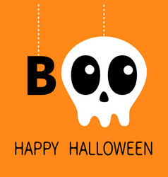 happy halloween hanging word boo text skull vector image
